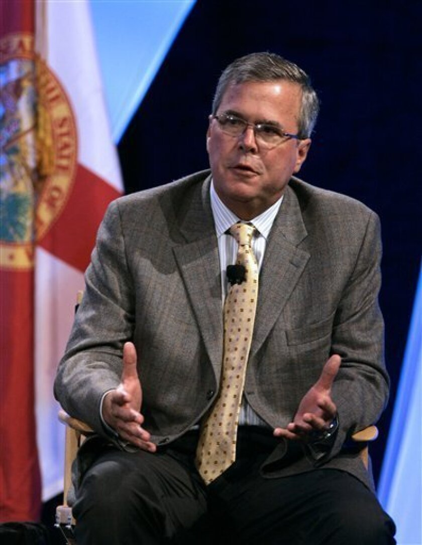 FILE -- In this June 19, 2008 file photo, former Florida Gov. Jeb Bush responds to questions at the Excellence in Action conference, a national summit on education reform, in Lake Buena Vista, Fla.(AP Photo/John Raoux, File)