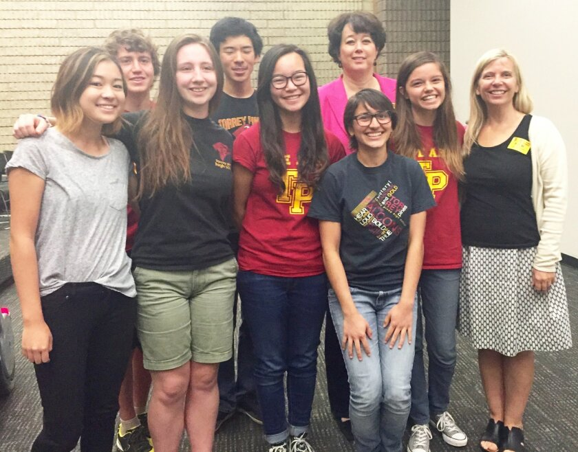 Torrey Pines students in the Gay-Straight Alliance planned Rainbow Week. Back row: Lior Troianovski, Jason Hsu and guest speaker Susan Guinn. Front row: Mai Saito, Haley Browning, Emily Zhi, Milena Chakraverti-Wuerthwein, Amal Gebara-Lamb and guest speaker Dr. Amy Parish. Photo by Don Collins