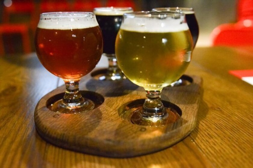At Regents Pizzeria in La Jolla, a flight of beers totals an 'honest pour' of 16 ounces. This flight includes New England Zumbar Chocolate Coffee Imperial Stout, Hess Ficus Saison, Ska Modus Hoperandi and Pizza Port Ponto Session IPA.