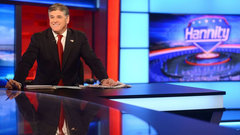 "Sean Hannity records his Fox News show ""Hannity"" in 2015."