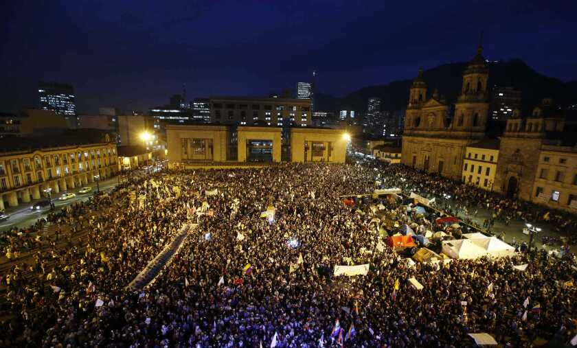 A peace march in Bogota, Colombia