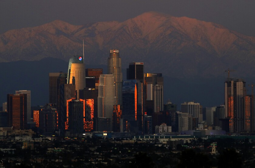 The downtown Los Angeles skyline
