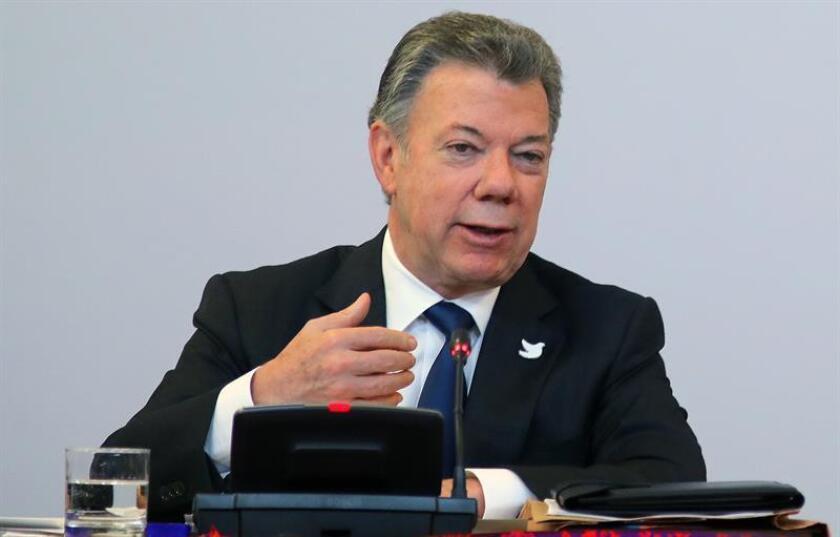 El presidente de Colombia, Juan Manuel Santos, durante una conferencia de prensa. EFE/Archivo