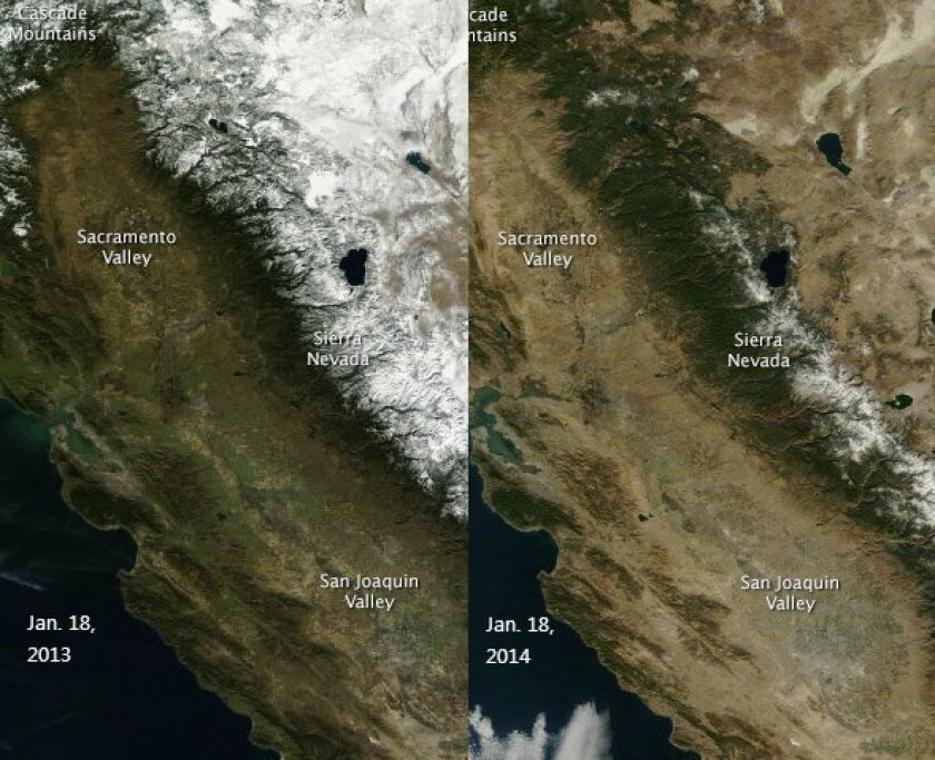 Images from a NASA satellite show the snowpack in the Sierra Nevada in January 2013 and January 2014.