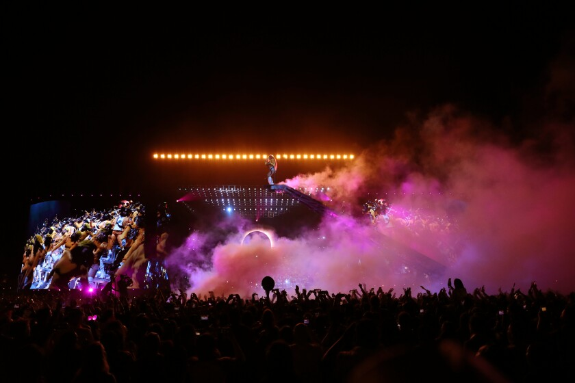 Beyoncé performs on the pyramid set at Coachella