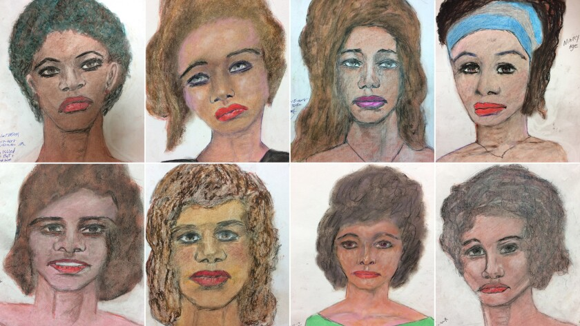 A mosaic of drawings by Sam Little of his victims. Top row from left; Wichita Falls TX; White femal