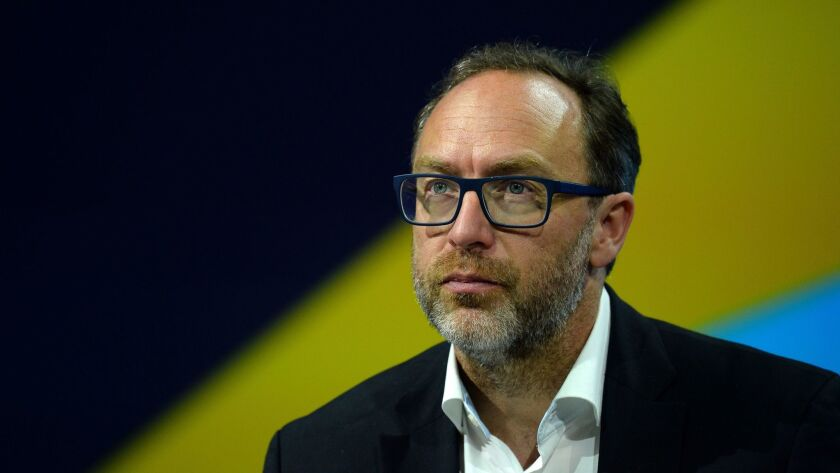 (FILES) This file photo taken on June 30, 2016 shows Jimmy Wales, co-founder and promoter of the onl