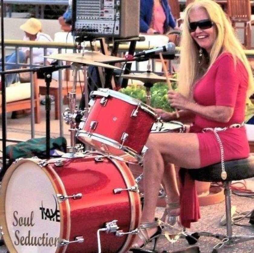Susan McCrea on the drums