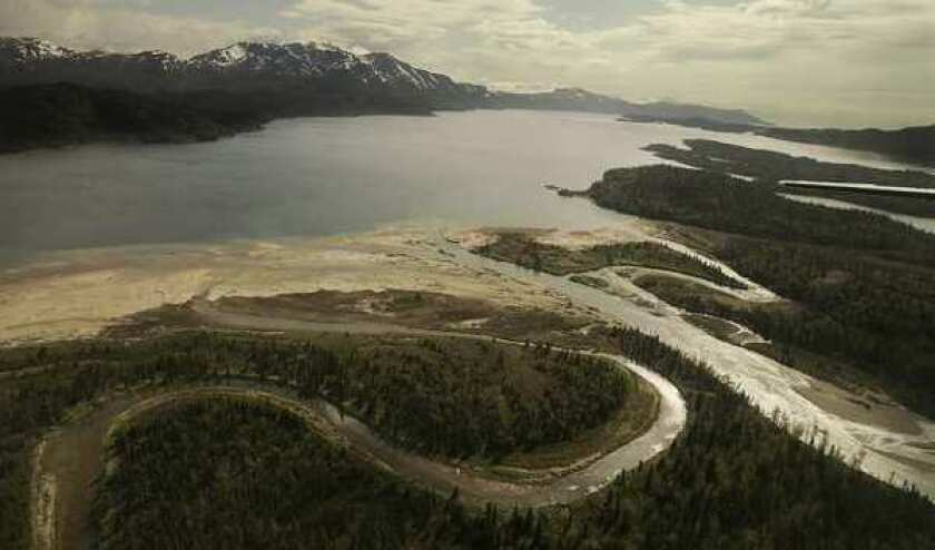 The Pebble Mine site lies high in the watershed above Lake Iliamna, pictured, and Bristol Bay.