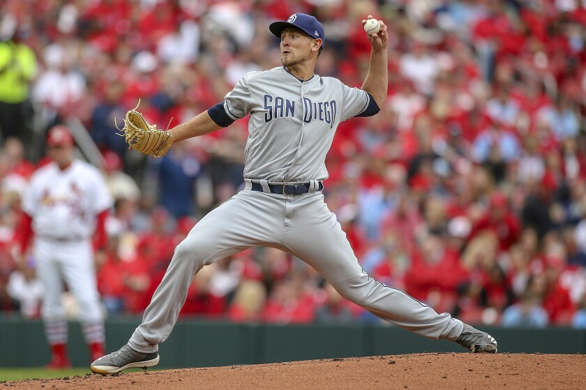 Padres starting pitcher Nick Margevicius (25) pitches during the first inning Friday against the St. Louis Cardinals.