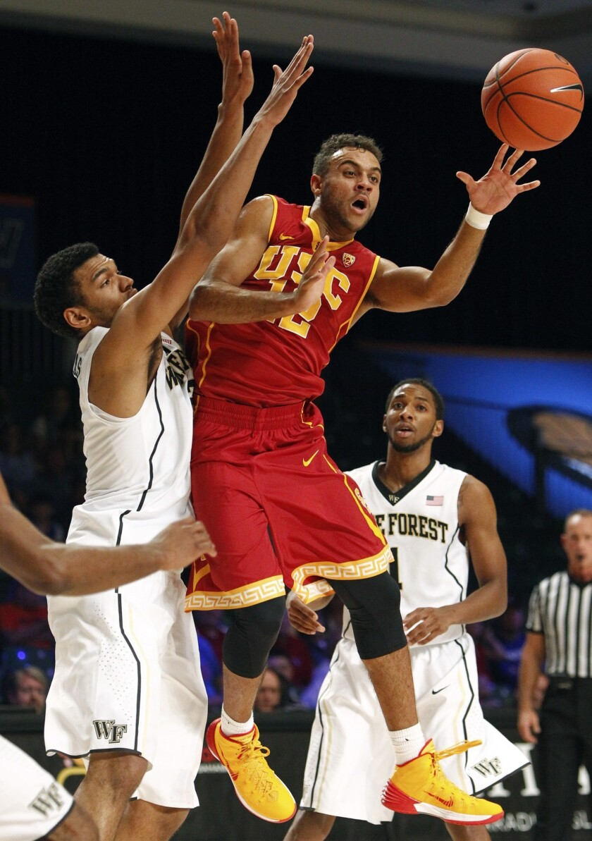 USC's Julian Jacobs makes a pass during a game against Wake Forrest on Nov. 29. Jacobs scored 16 points in the Trojans' 78-62 win Sunday over Boston College.