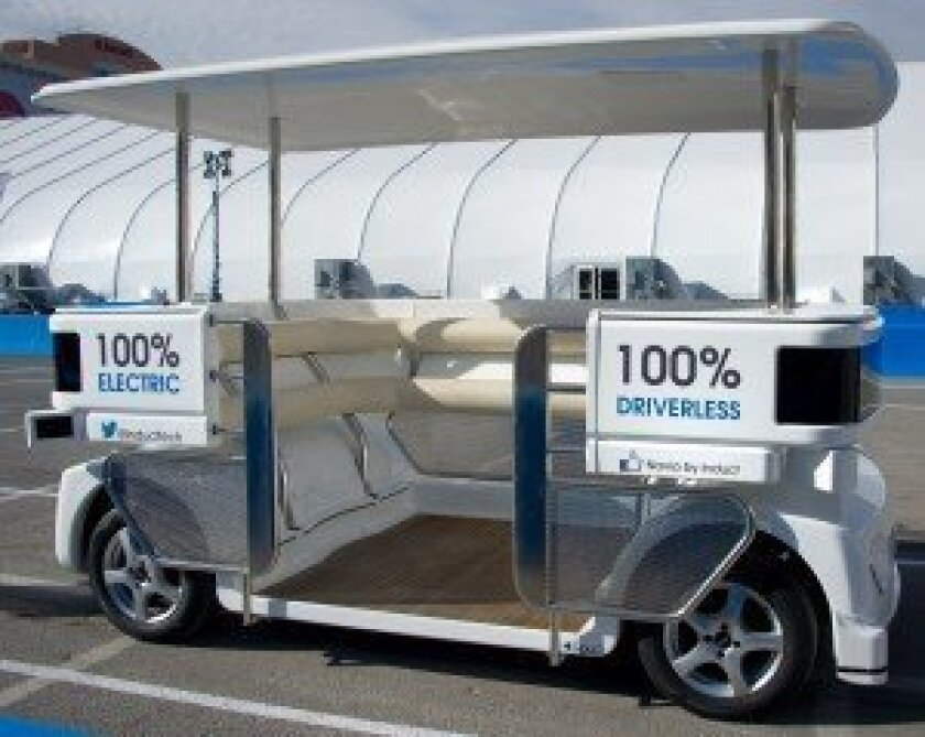 Spacious Navia driverless shuttle