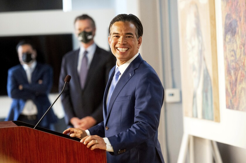 Rob Bonta speaks shortly after Gov. Newsom announced his nomination for attorney general.