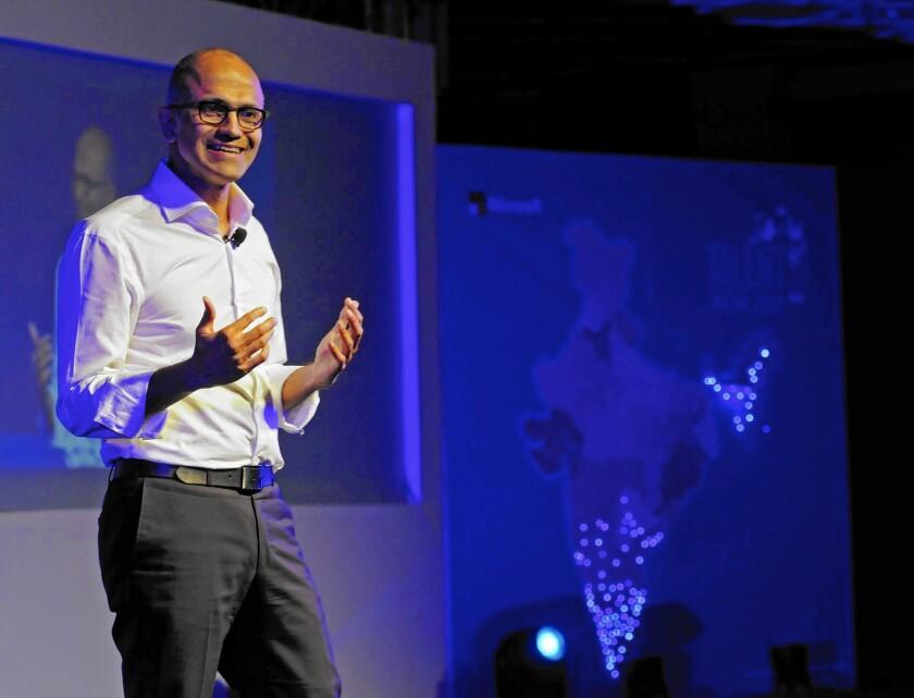 Microsoft CEO Satya Nadella speaks to students at Talent India last year in New Delhi.
