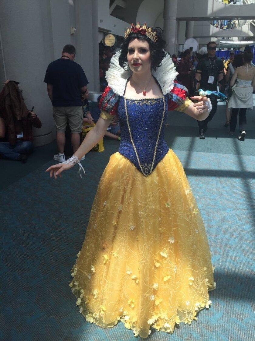 Alex Waldron, 25, of Los Angeles poses as Snow White at Comic-Con 2016.