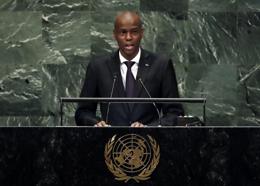 El presidente haitiano Jovenel Moïse da un mensaje ante la Asamblea General de la ONU