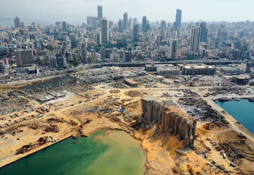 An aerial view of the port of Beirut taken three days after it was devastated in an explosion.