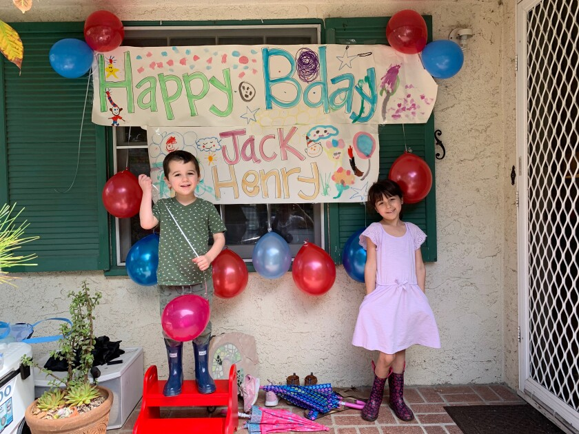 Neighbors helped decorate the porch in their Culver City neighborhood to help Jack Henry Iverson celebrate his birthday under quarantine.