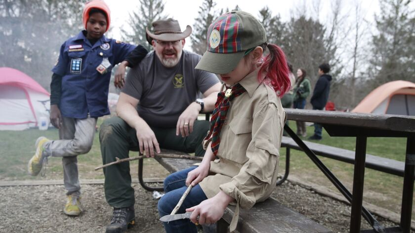 Girls break new ground camping with Boy Scouts, but will shift hurt Girl Scouts?