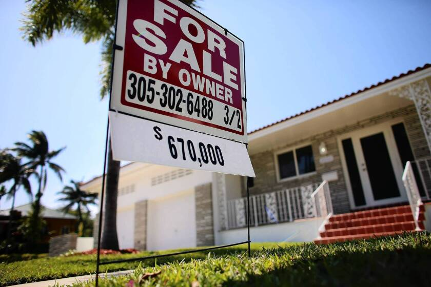 A for-sale sign stands in front of a home in Miami. The Standard & Poor's/Case-Shiller index of 20 U.S. cities recorded an 8.1% year-over-year increase in home prices in January, underscoring the vigor of the recent recovery.