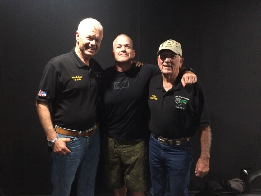 """From left, John Stryker Meyer, Jocko Willink and Doug LeTourneau at the recording of their podcast, """"Taking A Secret War to The Enemy in Vietnam, with The Frenchman Doug Letourneau."""""""