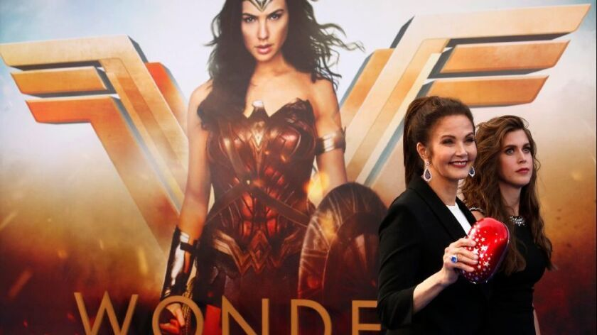 Lynda Carter, who played Wonder Woman in the 1970s television series, left, and her daughter Jessica