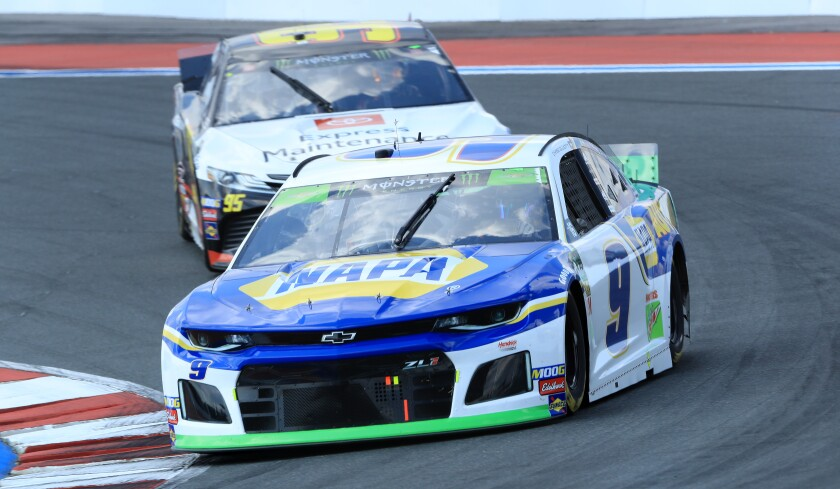 Chase Elliott competes in Sunday's NASCAR Cup race at Charlotte Motor Speedway.