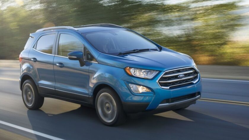 """The EcoSport — pronounced """"Echo-sport"""" — is a tough little city car — load it up, beat it up, fill it up and do it again."""