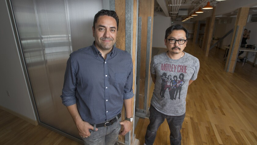 Soda Creative, based in downtown Los Angeles, is one of several companies that have sprouted up to take advantage of studios' appetite for targeted marketing. Above, owner Jaime Gamboa, left, and business partner Jaehoon Oh.