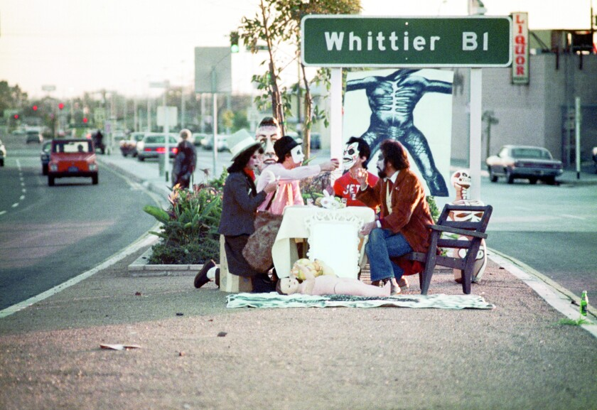 """""""First Supper (After A Major Riot),"""" 1974. Photograph by Harry Gamboa Jr. of Asco"""