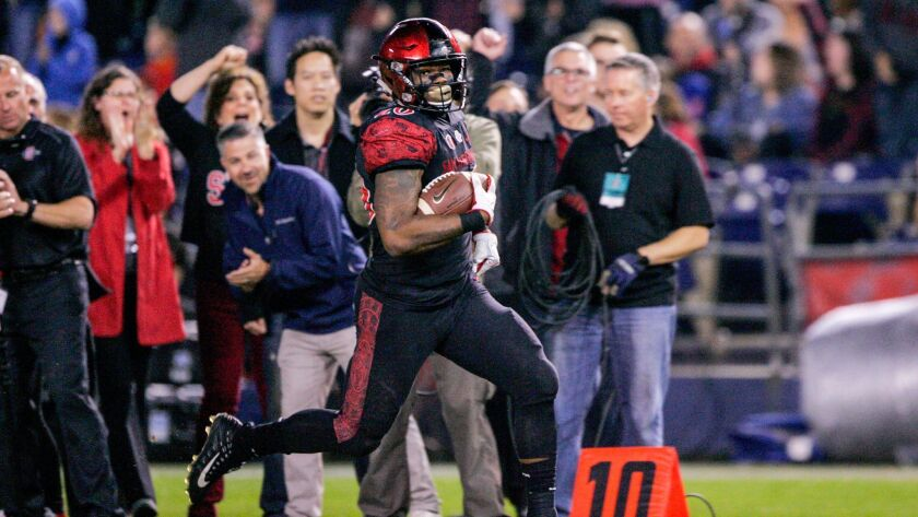 Rashaad Penny #20 of San Diego State returns a punt 70 yards for a touchdown in the first half against Nevada at Qualcomm Stadium on November 2017 in San Diego, California.