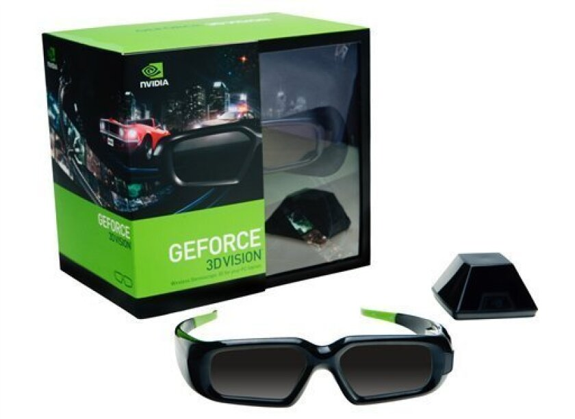 """This undated photo provided by Nvidia Corp., a leading maker of graphics chips for computers, will be touting $199 glasses that turn compatible monitors into true three-dimensional displays, spicing up games like """"Far Cry 2,"""" """"Spore"""" and """"Left 4 Dead."""" Gaming in 3-D, with and without glasses, has b"""