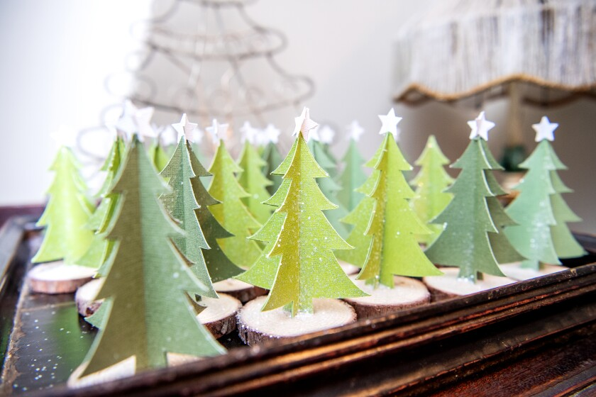 DIY tree decorations that Saeta made for the holidays.