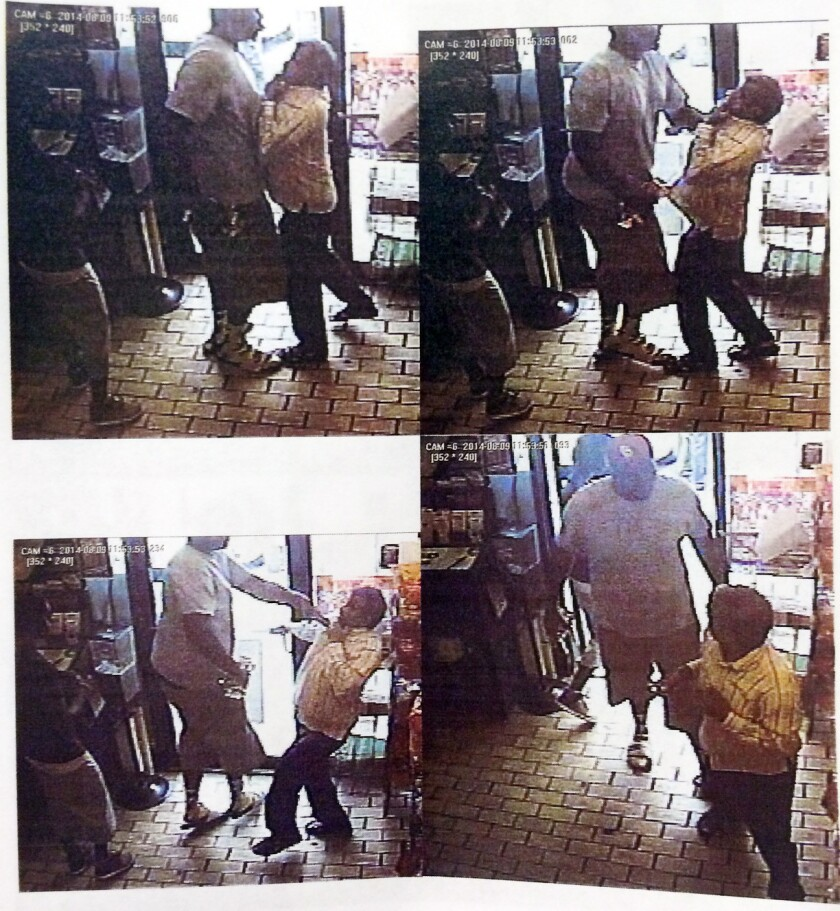 Police say video frame grabs from a security camera show Michael Brown, center, during a robbery.