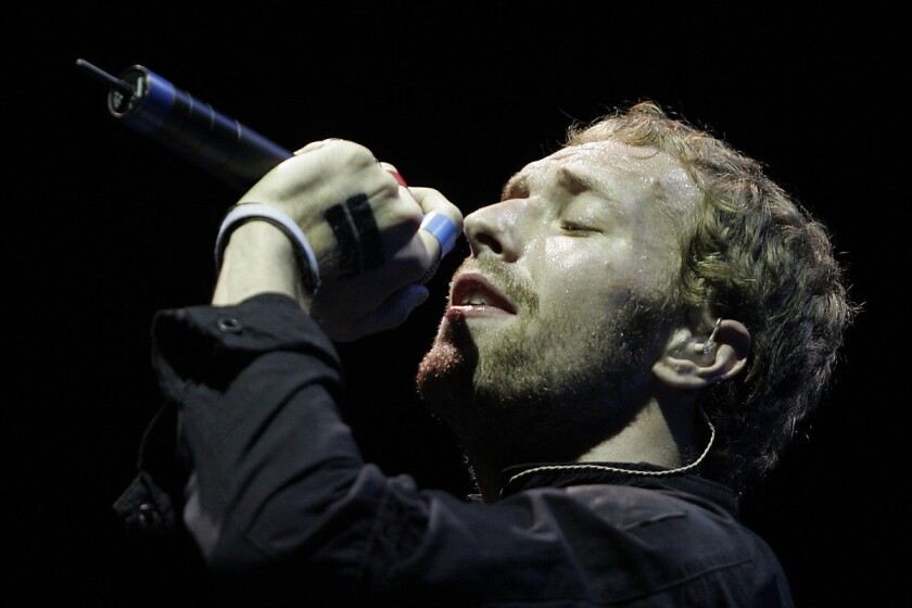 "Chris Martin of Coldplay. The band has hidden handwritten lyric sheets inside library books to promote its new album, ""Ghost Stories."""