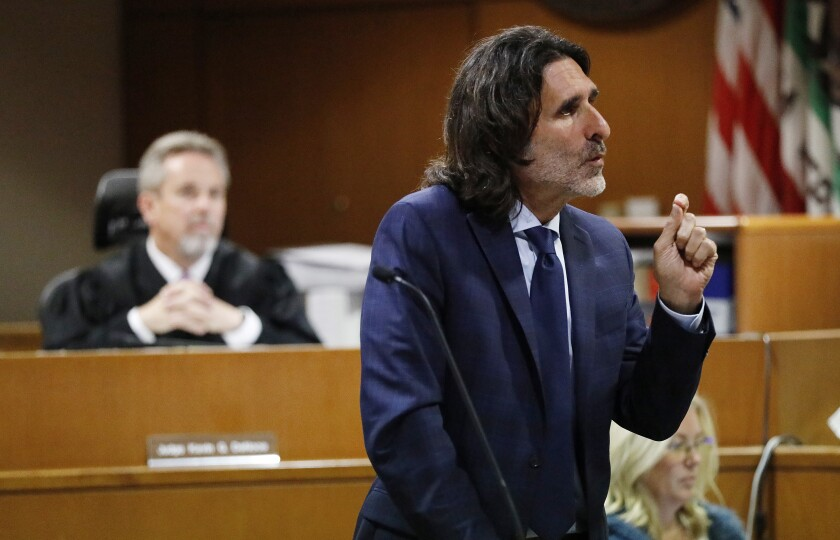 Attorney David Feldman addresses the jury during closing arguments before Judge Kevin G. DeNoce in Ventura County Superior Court.