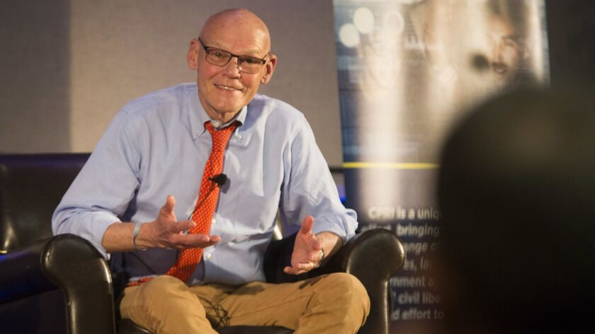 James Carville speaks during a conference about cybersecurity and elections at UC Irvine on Tuesday,
