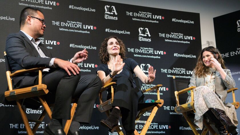 """Los Angeles Times film critic Justin Chang moderates a discussion with writer-director Tamara Jenkins, center, and actress Kathryn Hahn at the L.A. Times Envelope Live screening of """"Private Life"""" at The Montalban."""