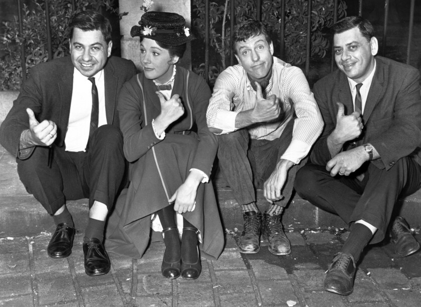 """From left, songwriter Richard Sherman, actress Julie Andrews, actor Dick Van Dyke and songwriter Robert Sherman on the set of """"Mary Poppins."""" By Christy Khoshaba"""