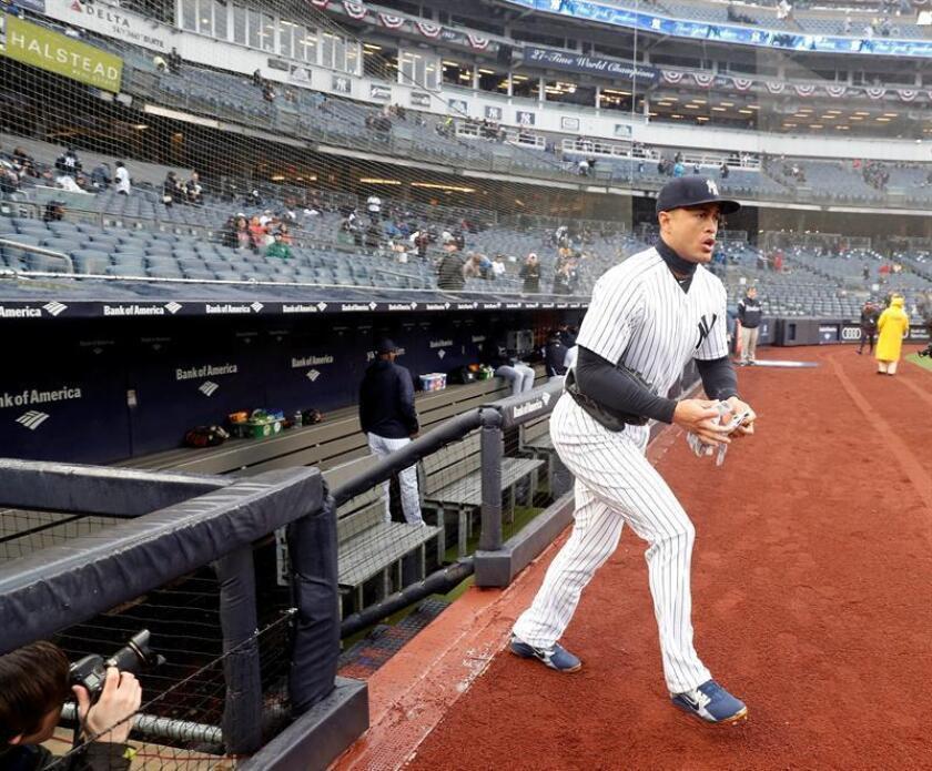 Giancarlo Stanton de los Yanquis en el Yankee Stadium en el Bronx, en Nueva York (EE.UU.). EFE