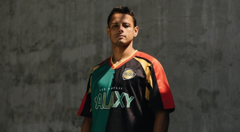 """Javier """"Chicharito"""" Hernández wearing one of the Galaxy's """"Since '96"""" shirts."""