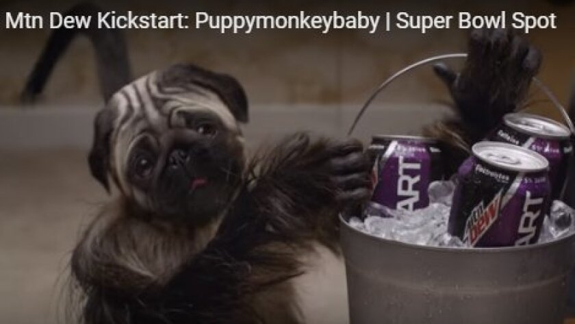 """This screen grab from Mountain Dew's new Kickstart drink features a """"puppymonkeybaby."""""""