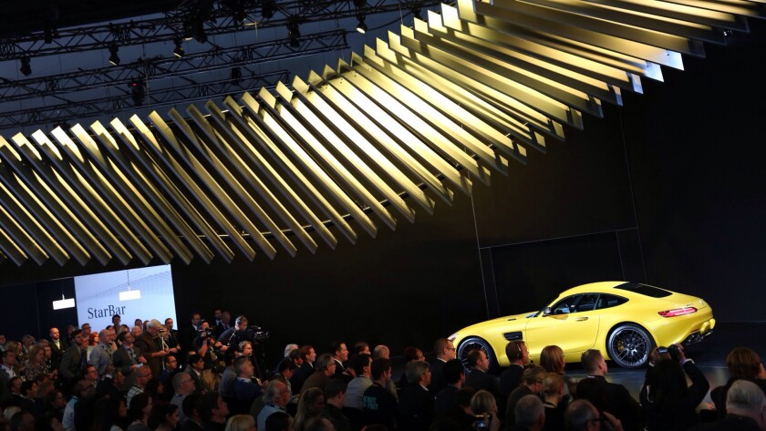 The Mercedes AMG GT is introduced at the 2014 Los Angeles Auto Show.