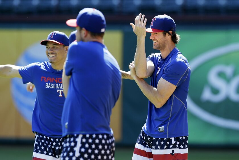 FILE - In this Tuesday, Oct. 6, 2015 file photo, Texas Ranges pitcher Cole Hamels, right, stretches with teammates during a baseball workout in Arlington, Texas. There will be a moment early in spring training when the Rangers gather as a group and put last season in the past. (AP Photo/LM Otero, F