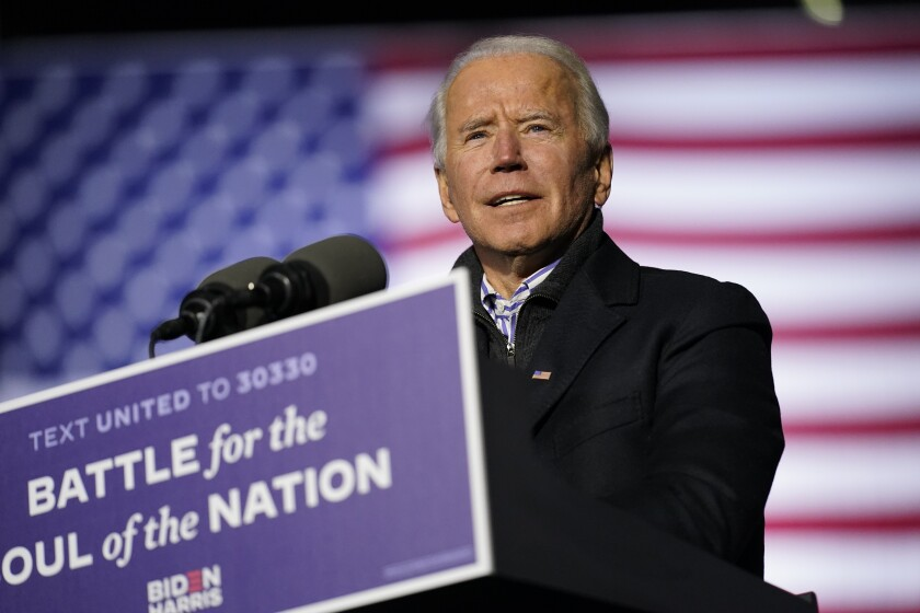 Former Vice President Joe Biden speaks during a drive-in rally at Heinz Field, on Monday, Nov. 2, 2020, in Pittsburgh.