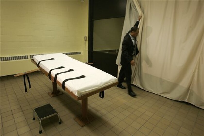 FILE - This November 2005 file photo shows the death chamber at the Southern Ohio Corrections Facility in Lucasville, Ohio. In response to state queries, the FDA has announced it will not stop overseas shipments to the U.S. of the execution drug sodium thiopental, because the agency does not regulate products used in lethal injection. (AP Photo/Kiichiro Sato, File)