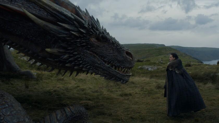 "Jon Snow (Kit Harington) appears alongside Drogon in the ""Game of Thrones"" episode ""Eastwatch."""