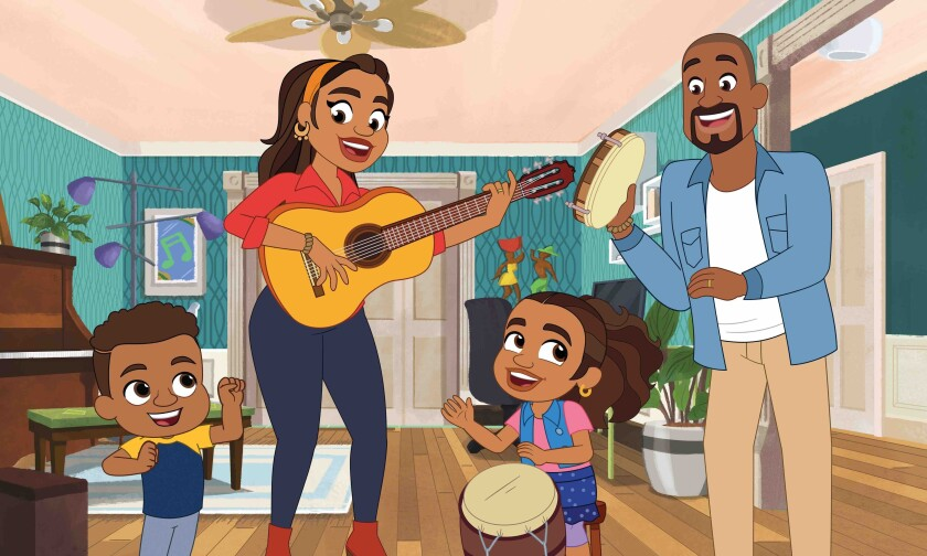 """This image released by PBS Kids shows a scene from """"Alma's Way,"""" featuring Alma Rivera, second from right, a Puerto Rican girl who lives in the Bronx borough of New York City with her parents and younger brother, Junior, right. The series, created by Sonia Manzano, who played Maria on """"Sesame Street"""" from 1971-2015, premieres Oct. 4. (PBS Kids via AP)"""