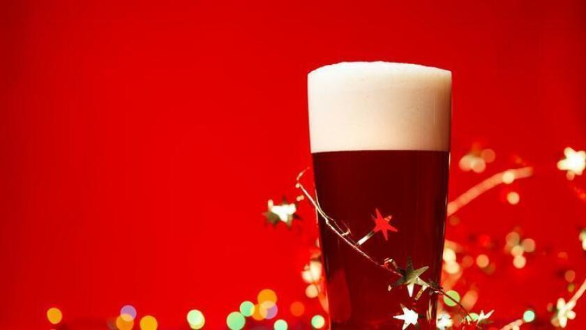 Holiday beer decorated with festive tinsel