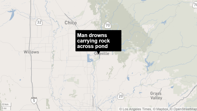 Man drowns while trying to swim across a pond carrying a heavy rock in Gridley, Calif., on Monday, his 21st birthday.